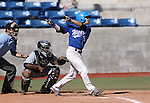Wildcats' David Modler hits a two-run double against College of Southern Nevada at Western Nevada College in Carson City, Nev., on Thursday, March 26, 2015. <br /> Photo by Cathleen Allison/Nevada Photo Source