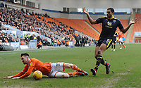 Blackpool's Chris Long is fouled by Oxford United's Curtis Nelson<br /> <br /> Photographer Kevin Barnes/CameraSport<br /> <br /> The EFL Sky Bet League One - Blackpool v Oxford United - Saturday 23rd February 2019 - Bloomfield Road - Blackpool<br /> <br /> World Copyright © 2019 CameraSport. All rights reserved. 43 Linden Ave. Countesthorpe. Leicester. England. LE8 5PG - Tel: +44 (0) 116 277 4147 - admin@camerasport.com - www.camerasport.com