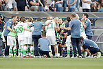 VfL Wolfsburg's team before extra time during UEFA Women's Champions League 2015/2016 Final match.May 26,2016. (ALTERPHOTOS/Acero)