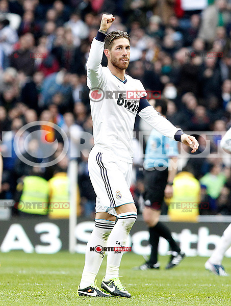 Real Madrid's Sergio Ramos celebrates goal during La Liga match.March 02,2013. (ALTERPHOTOS/Acero) /NortePhoto