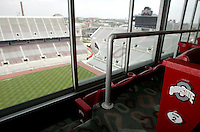 Private suite, with eight stadium seats, overlooking the scoreboard at Ohio Stadium Thursday, May 20, 2004 in Columbus, Ohio.