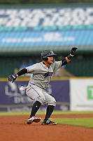 Winston-Salem Dash catcher Daniel Gonzalez (17) running the bases during a downpour during a game against the Myrtle Beach Pelicans at Ticketreturn.com Field at Pelicans Ballpark on July 23, 2018 in Myrtle Beach, South Carolina. Winston-Salem defeated Myrtle Beach 6-1. (Robert Gurganus/Four Seam Images)