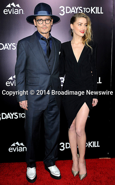 Pictured: Johnny Depp, Amber Heard<br /> Mandatory Credit &copy; Adhemar Sburlati/Broadimage<br /> Film Premiere of 3 Days to Kill<br /> <br /> 2/12/14, Los Angeles, California, United States of America<br /> <br /> Broadimage Newswire<br /> Los Angeles 1+  (310) 301-1027<br /> New York      1+  (646) 827-9134<br /> sales@broadimage.com<br /> http://www.broadimage.com