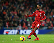 30th January 2019, Anfield, Liverpool, England; EPL Premier League football, Liverpool versus Leicester City; Georginio Wijnaldum of Liverpool  passes the ball in midfield