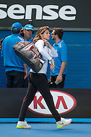 Amelie Mauresmo and Great Britain Union Jack Bag<br /> <br /> Tennis - Australian Open 2015 - Grand Slam -  Melbourne Park - Melbourne - Victoria - Australia  - 25 January 2015. <br /> &copy; AMN IMAGES