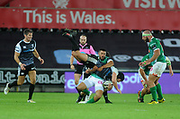 Dan Evans of Ospreys is tackled by Edoardo Gori of Benetton Treviso during the Guinness Pro14 Round 4 match between the Ospreys and Benetton Rugby at the Liberty Stadium in Swansea, Wales, UK. Saturday 22 September 2018
