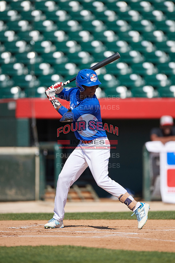 Adael Amador (6) during the Dominican Prospect League Elite Underclass International Series, powered by Baseball Factory, on July 31, 2017 at Silver Cross Field in Joliet, Illinois.  (Mike Janes/Four Seam Images)