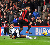 Tottenham Hotspur's Mousa Dembele (left) vies for possession with Bournemouth's Callum Wilson (right)<br /> <br /> Bournemouth 1 - 4 Tottenham Hotspur<br /> <br /> Photographer David Horton/CameraSport<br /> <br /> The Premier League - Bournemouth v Tottenham Hotspur - Sunday 11th March 2018 - Vitality Stadium - Bournemouth<br /> <br /> World Copyright &copy; 2018 CameraSport. All rights reserved. 43 Linden Ave. Countesthorpe. Leicester. England. LE8 5PG - Tel: +44 (0) 116 277 4147 - admin@camerasport.com - www.camerasport.com