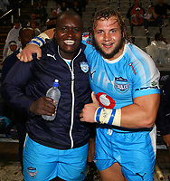 DURBAN, SOUTH AFRICA - APRIL 14: Trevor Nyakane of the Vodacom Blue Bulls with Pierre Schoeman of the Vodacom Blue Bulls during the Super Rugby match between Cell C Sharks and Vodacom Bulls at Jonsson Kings Park Stadium on April 14, 2018 in Durban, South Africa. Photo: Steve Haag / stevehaagsports.com