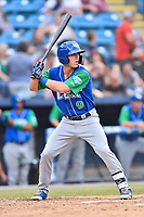 Lexington Legends center fielder Cal Jones (9) awaits a pitch during a game against the Asheville Tourists at McCormick Field on May 25, 2018 in Asheville, North Carolina. The Tourists defeated the Legends 6-4. (Tony Farlow/Four Seam Images)