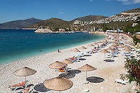 Turkey, Province Antalya, Kalkan: popular resort on the Mediterranean Coast - beach | Tuerkei, Provinz Antalya, Kalkan: beliebter Ferienort an der Mittelmeerkueste - Strand