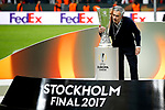 Manchester United manager Jose Mourinho with the trophy after the UEFA Europa League Final match at the Friends Arena, Stockholm. Picture date: May 24th, 2017.Picture credit should read: Matt McNulty/Sportimage