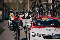 Tiesj Benoot (BEL/Lotto-Soudal) 'assisted' along the way...<br /> <br /> Omloop Het Nieuwsblad 2018<br /> Gent &rsaquo; Meerbeke: 196km (BELGIUM)