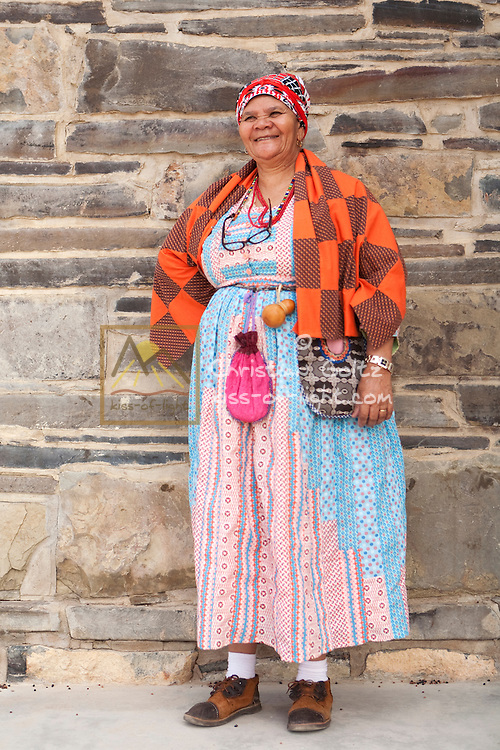 The wife of David Frederick, captain (chief) of the Nama in Bethanie, Southern Namibia, in 2011. She proudly displays a traditional Nama dress and accessories.