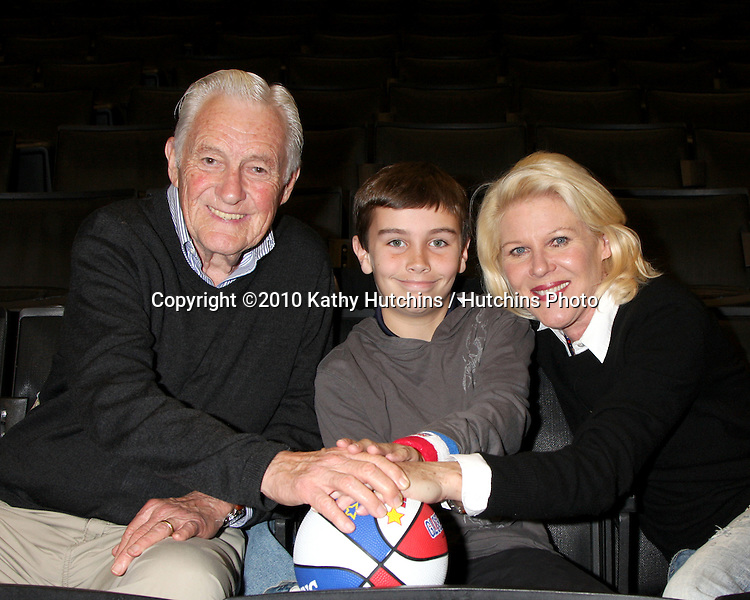 Orson Bean & Alley Mills, with their grandson Samson Breitbart.at the Harlem Globetrotters Game .Staples Center.Los Angeles, CA.February 14, 2010.©2010 Kathy Hutchins / Hutchins Photo....