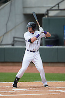 Trey Michalczewski (8) of the Winston-Salem Dash at bat against the Myrtle Beach Pelicans at BB&T Ballpark on April 18, 2015 in Winston-Salem, North Carolina.  The Pelicans defeated the Dash 4-1 in game one of a double-header.  (Brian Westerholt/Four Seam Images)