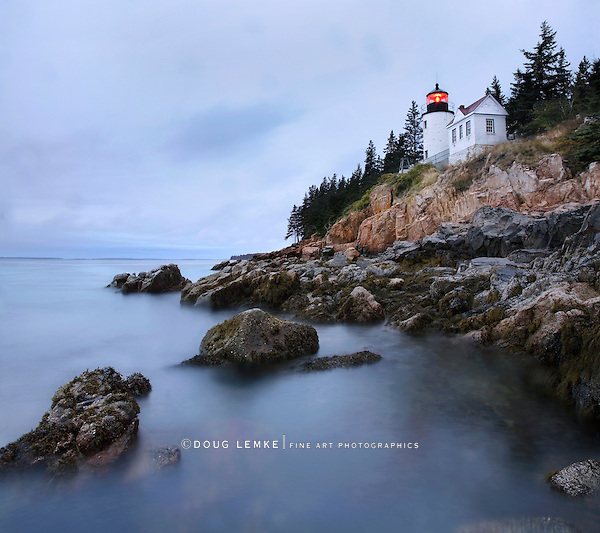 Bass Harbor Head Light In Pre-Dawn Light On A Rainy Morning, Acadia National Park, Maine