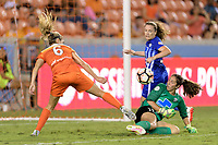 Houston, TX - Wednesday June 28, 2017: Boston Breakers  Goalkeeper, Sammy Jo Prudhomme attempts to stop a shot on goal by Morgan Brian  during a regular season National Women's Soccer League (NWSL) match between the Houston Dash and the Boston Breakers at BBVA Compass Stadium.