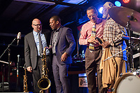 FROM LEFT: Ethan Iverson, Ravi Coltrane, David Williams and celebrate at the end of the Monk 100 festival at the Durham Fruit and Produce Company in Durham, NC Wednesday, October 25, 2017. (Justin Cook for The New York Times)