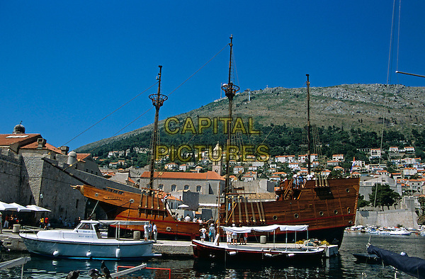 The Karaka galleon moored in the Old City Port, Dubrovnik, Dalmatian Coast, Croatia, Former Yugoslavia