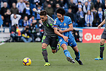 Getafe CF's Gaku Shibasaki and Real Sociedad's Antoni Gorosabel during La Liga match between Getafe CF and Real Sociedad at Coliseum Alfonso Perez in Getafe, Spain. December 15, 2018. (ALTERPHOTOS/A. Perez Meca)