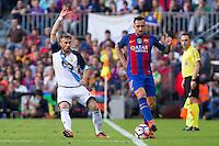 Deportivo de La Coruna's Fernando Navarro and FC Barcelona's Paco Alcacer during the La Liga match between Futbol Club Barcelona and Deportivo de la Coruna at Camp Nou Stadium Spain. October 15, 2016. (ALTERPHOTOS/Rodrigo Jimenez)