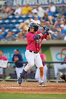 Pensacola Blue Wahoos Ryan Costello (18) at bat at bat during a Southern League game against the Mobile BayBears on July 25, 2019 at Blue Wahoos Stadium in Pensacola, Florida.  Pensacola defeated Mobile 2-1 in the first game of a doubleheader.  (Mike Janes/Four Seam Images)