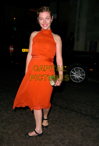 CAMILLA RUTHERFORD.At a Sony Ericsson WTA Tour Pre-Wimbledon Party, The Roof Gardens, Kensington, London, England,.June 21st, 2007.full length red dress belt flat black shoes pumps mary janes.CAP/CAN.©Can Nguyen/Capital Pictures