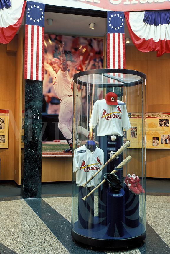 Hall of Fame, baseball, Cooperstown, NY, New York, Cardinals baseball team exhibit displayed inside the National Baseball Hall of Fame and Museum.The 2000 Great American Home Run Chase.
