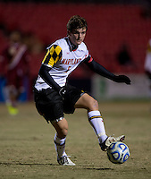 Mikey Ambrose (5) of Maryland passes the ball during the ACC tournament quarterfinals at Ludwig Field in College Park, MD.  Maryland defeated Boston College, 2-0.