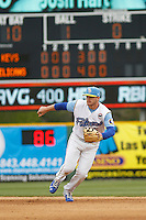 Myrtle Beach Pelicans second baseman Ian Happ (5) in the field during a game against the Frederick Keys at Ticketreturn.com Field at Pelicans Ballpark on April 10, 2016 in Myrtle Beach, South Carolina. Myrtle Beach defeated Frederick 7-5. (Robert Gurganus/Four Seam Images)
