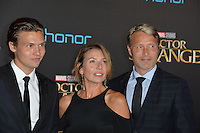 LOS ANGELES, CA. October 20, 2016: Mads Mikkelson &amp; Hanne Jacobsen &amp; Carl Jacobsen Mikkelsen at the world premiere of Marvel Studios' &quot;Doctor Strange&quot; at the El Capitan Theatre, Hollywood.<br /> Picture: Paul Smith/Featureflash/SilverHub 0208 004 5359/ 07711 972644 Editors@silverhubmedia.com