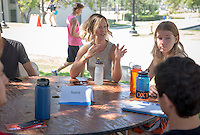 Incoming first years meet with their faculty advisors during the Major Information Sessions & Advising part of Orientation in the Academic Quad, Aug. 24, 2015.<br /> (Photo by Marc Campos, Occidental College Photographer)