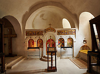 Picture &amp; image of interior of church, David Gareja Georgian Orthodox monastery, Mount Gareja, Kakheti Region, Georgia (country)<br /> <br /> Founded in the 6th century by David (St. David Garejeli), one of the  thirteen Assyrian monks who built monasteries throughout Georgia. The monastery is spread out over a huge area of the arid Mount Gareja, with small cells and chapels cut into cliff faces.