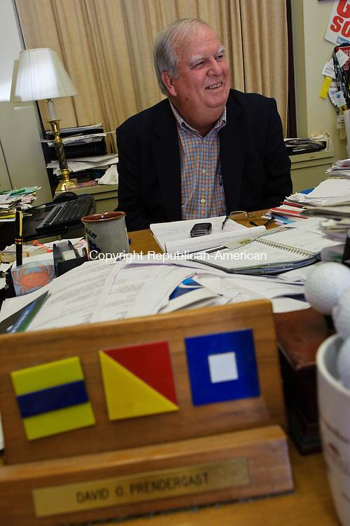 NAUGATUCK, CT - 25 June 2013-062513EC04--    David Prendergast, the longtime CEO of the Naugatuck Economic Development Corporation, sits in his office. Prendergast has announced his retirement. Erin Covey Republican-American.