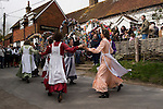 The Knots of May, ladies Morris dance team, Good Friday, Rose Cottage Inn Alciston, Sussex. England 2006.