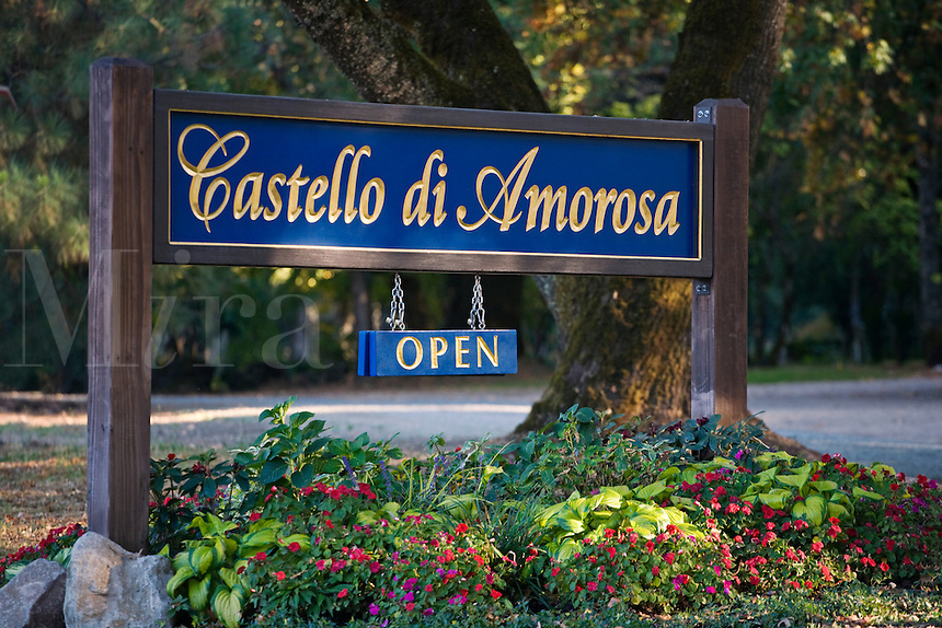 Sign to CASTELLO DI AMAROSA which is a WINERY housed by an authentic but recently constructed ITALIAN CASTLE located near CALISTOGA - NAPA VALLEY, CALIFORNIA