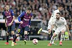 Real Madrid CF's Daniel Carvajal, Raphael Varane and FC Barcelona's Sergio Busquets, Leo Messi during La Liga match. March 02,2019. (ALTERPHOTOS/Alconada)