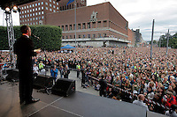 (Oslo July 25, 2011) Prime Minister Jens Stoltenber speaks to an estimated 150,000 people gathered in Oslo town centre for a vigil following Friday's twin extremist attacks ...A large vehicle bomb was detonated near the offices of Norwegian Prime Minister Jens Stoltenberg on 22 July 2011. .Another terrorist attack took place shortly afterwards, where a man killed 68 people, mainly children and youths attending a political camp at Utøya island. ..Anders Behring Breivik was arrested on the island and has admitted to carrying out both attacks..(photo:Fredrik Naumann/Felix Features)