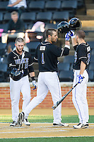 Ryan Deitrich (1) of the Duke Blue Devils is greeted at home plate by teammates Mike Rosenfeld (15) and Kenny Koplove (7) after hitting a home run against the Wake Forest Demon Deacons at Wake Forest Baseball Park on April 25, 2014 in Winston-Salem, North Carolina.  The Blue Devils defeated the Demon Deacons 5-2.  (Brian Westerholt/Four Seam Images)