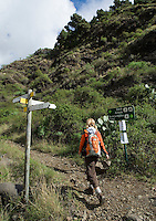 Spain, Canary Islands, La Palma, near Los Llanos de Aridane: Barranco de las Angustias - woman hiking towards Caldera de Taburiente