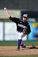 Kentucky Wesleyan Panthers pitcher Jordan Collier (17) during a game against Slippery Rock University at Jack Russell Stadium on March 14, 2014 in Clearwater, Florida.  Slippery Rock defeated 18-13.  (Mike Janes/Four Seam Images)
