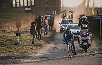 Niki Terpstra (NED/Quick-Step Floors) exiting the last cobbled section with 2km to go and a comfortable 30sec lead<br /> <br /> 50th GP Samyn 2018<br /> Quaregnon &gt; Dour: 200km (BELGIUM)