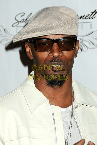 JAMIE FOXX. 4th Annual Sports Dream Celebrity Poker and Pool Party Celebrating the 2010 ESPY Awards held at the Playboy Mansion, Beverly Hills, California, USA..July 12th, 2010.headshot portrait white goatee facial hair grey gray flat cap hat sunglasses shades .CAP/ADM/BP.©Byron Purvis/AdMedia/Capital Pictures.