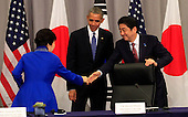 United States President Barack Obama attends a trilateral meeting with President Park Geun-Hye of the Republic of Korea and Prime Minister Shinzo Abe of Japan at the Nuclear Security Summit in Washington, DC on March 31,2016.<br /> Credit: Dennis Brack / Pool via CNP
