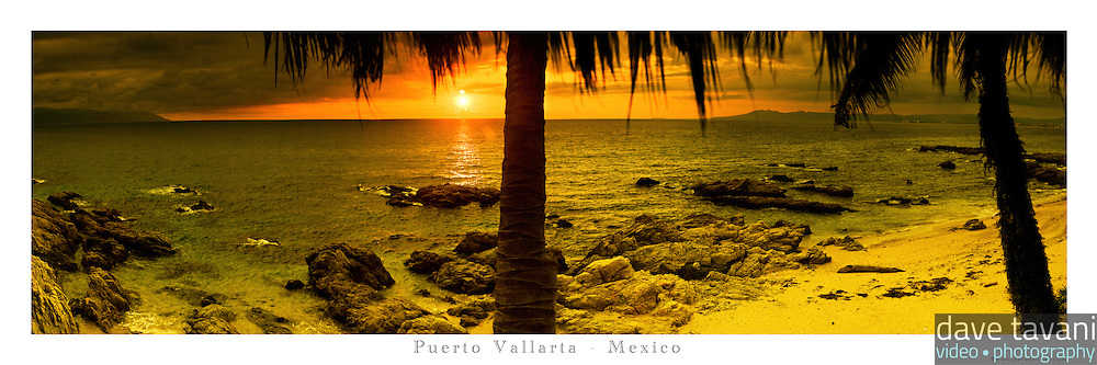 12x36 inch poster of the view of Playa Conchas Chinas in Puerto Vallarta, Mexico at sunset.
