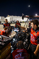 Jul 7, 2017; Joliet, IL, USA; Crew members for NHRA top fuel driver Leah Pritchett during qualifying for the Route 66 Nationals at Route 66 Raceway. Mandatory Credit: Mark J. Rebilas-USA TODAY Sports