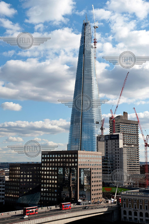The Shard building, under construction in the London Borough of Southwark, close to London Bridge Station. On completion, the Renzo Piano designed building, will be, at 310 metres, the tallest building in Europe.