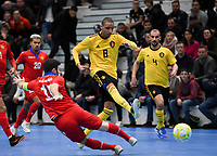 20200129 – Herentals , BELGIUM : Belgian Ibrahim Adnane pictured during a futsal indoor soccer game between Armenia and  the Belgian Futsal Devils of Belgium on the first matchday in group B of the UEFA Futsal Euro 2022 Qualifying or preliminary round , Wednesday 29 th January 2020 at the Sport Vlaanderen sports hall in Herentals , Belgium . PHOTO SPORTPIX.BE | DAVID CATRY