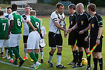Hibernian and Edinburgh City players exchanging handshakes before a pre-season friendly at Meadowbank Stadium. The match was City's first at the Commonwealth Stadium since they gained promotion from the Lowland League to the Scottish League in May 2016. A record crowd for a City match of 2500 spectators saw the visitors run out 6-1 winners.